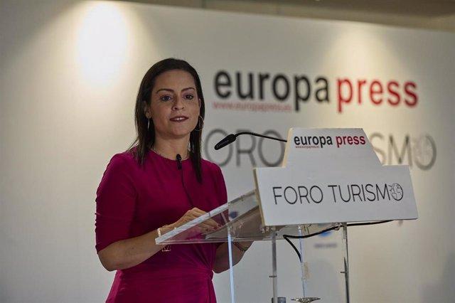 La  consejera de Turismo, Industria y Comercio del Gobierno de Canarias, Yaiza Castilla Herrera, interviene en el Foro Turismo de Europa Press en el Hotel Eurostars Madrid Tower, a 14 de junio de 2021, en Madrid (España).