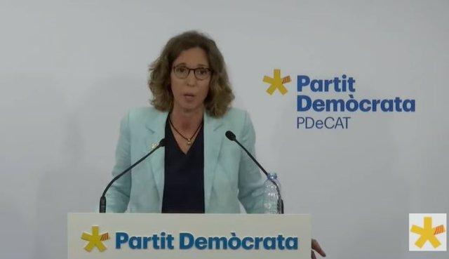 La secretària general del PDeCAT, Àngels Chacón, en roda de premsa telemàtica el 14 de juny de 2021.