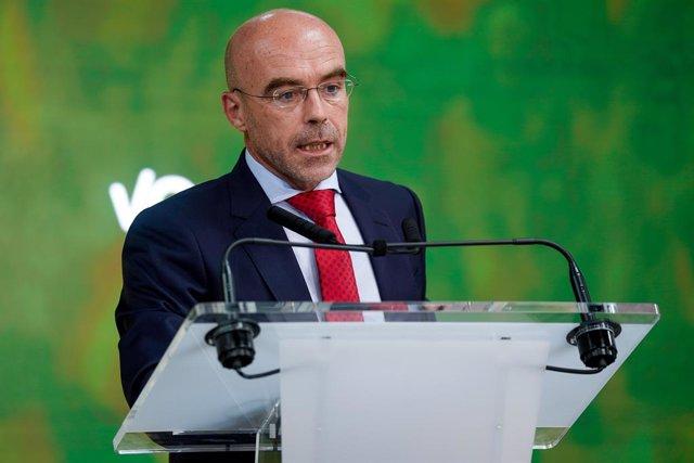 L'eurodiputat Jorge Buxadé en la conferència de premsa a la seu de Vox