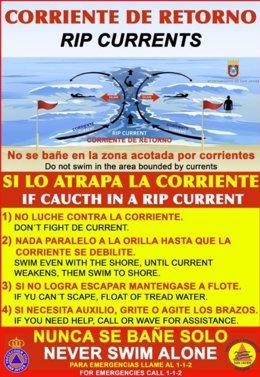 Cartel con recomendaciones frente a las corrientes de agua