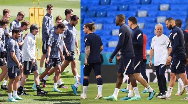 Las selecciones de Alemania y Francia en sus entrenamientos previos al duelo del Grupo F de la Euro 2020 que les medirá este martes en Múnich (Alemania)