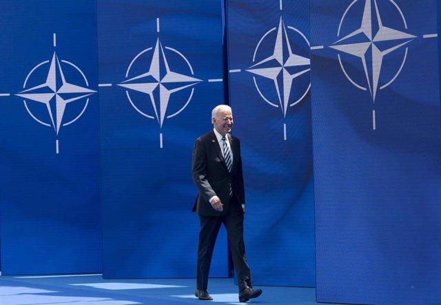 El presidente de Estados  Unidos, Joe Biden, en la sede de la OTAN en Bruselas