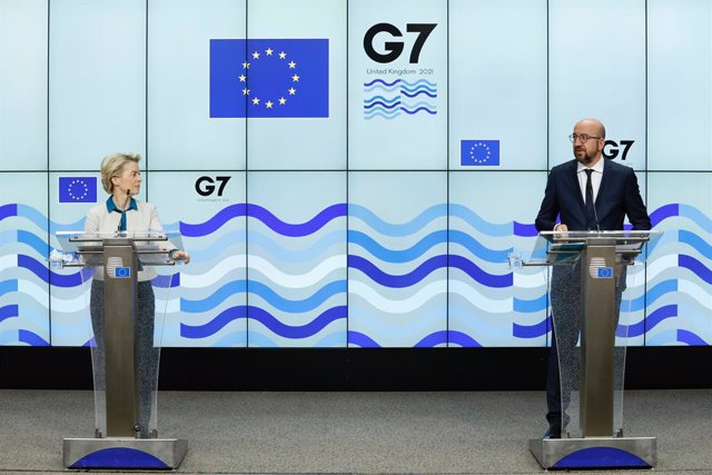 HANDOUT - 11 June 2021, United Kingdom, Cornwall: European Council President Charles Michel (R)speaks during a joint press conference with European Commission Ursula von der Leyen, on the sidelines of the G7 summit taking place from 11 to 13 June in Corn