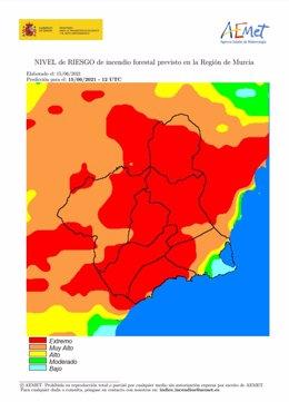 El nivel de riesgo de incendio forestal previsto para este martes es extremo en la mayor parte de la Región