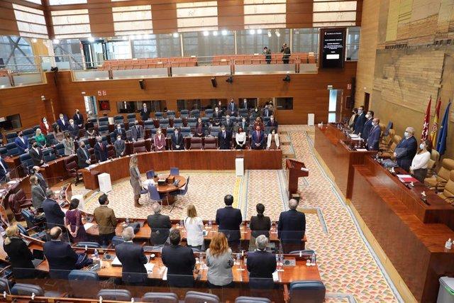 Archivo - Vista general del pleno de la Asamblea de Madrid durante un minuto de silencio antes de comenzar su debate