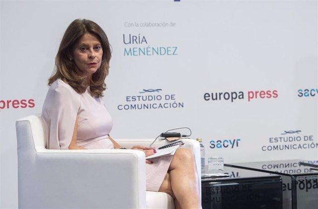 La vicepresidenta  y canciller de la República de Colombia, Marta Lucía Ramírez, interviene en un coloquio organizado por Europa Press y Estudio de Comunicación de Foro América