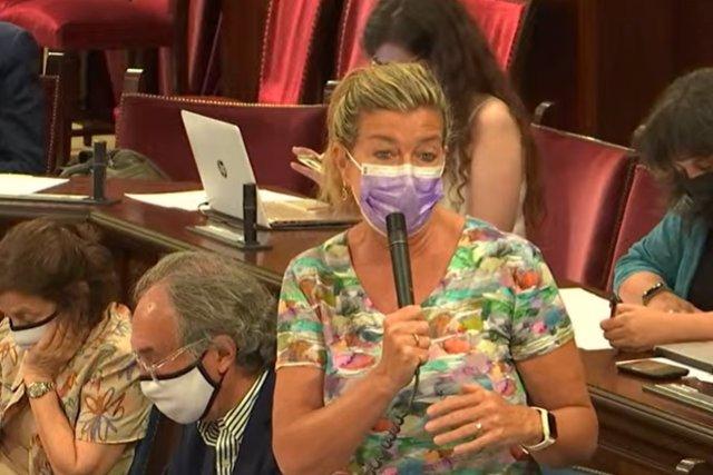 La consellera de Salud y Consumo, Patricia Gómez, en el pleno del Parlament.
