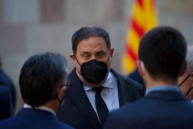 El líder de ERC, Oriol Junqueras,  llega a la Generalitat para la toma de posesión de Pere Aragonès