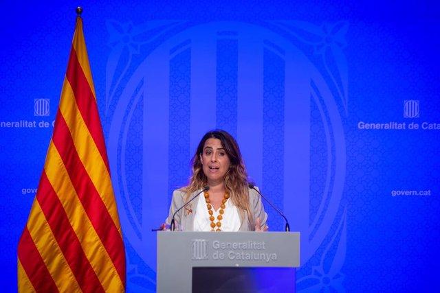 La portaveu del Govern, Patrícia Plaja, en la roda posterior al Consell Executiu.