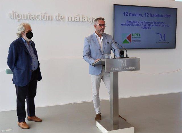 El vicepresidente de la Diputación de Málaga, Juan Carlos Maldonado, en rueda de prensa en Málaga