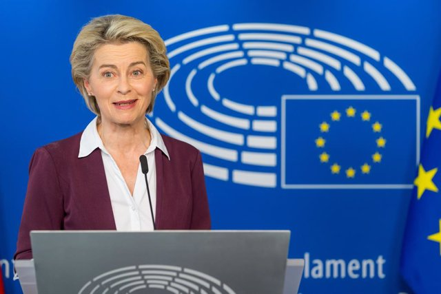 HANDOUT - 14 June 2021, Belgium, Brussels: European Commission President Ursula von der Leyen attends a press conference after the presidents of the three main EUinstitutions signed a plan for a digital Covid-19 vaccine certificate. Photo: Daina Le Lardi