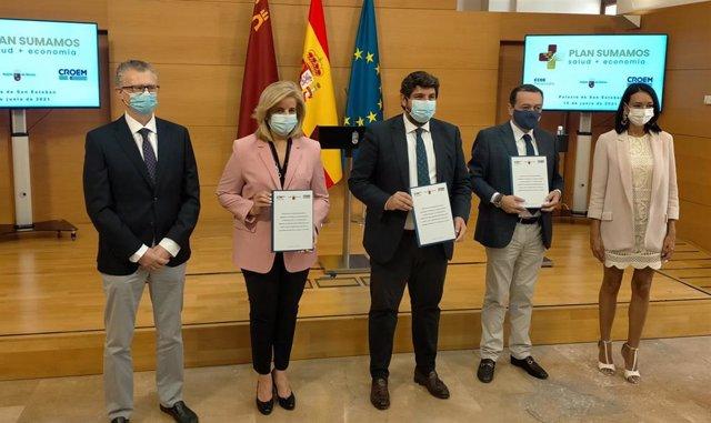 Imagen de la presentación del 'Protocolo de colaboración para la mitigación de los efectos adversos derivados de la crisis de la Covid-19',