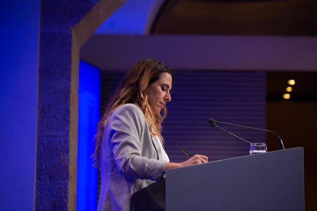 La portavoz del Govern de Cataluña, Patrícia Plaja, interviene en una rueda de prensa posterior al Consell Executiu, a 15 de junio de 2021, en la Generalitat de Catalunya, Barcelona, (España).