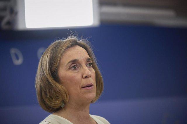 La portavoz del Grupo Parlamentario Popular en el Congreso, Cuca Gamarra, interviene en una rueda de prensa anterior a una Junta de Portavoces, a 8 de junio de 2021, en la Sala Constitucional del Congreso de los Diputados, Madrid, (España).