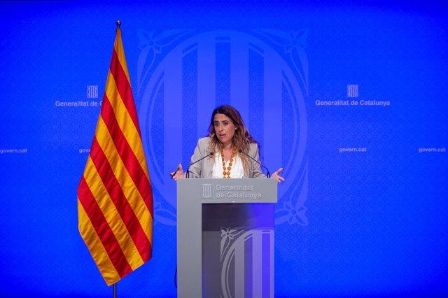 La portaveu del Govern, Patrícia Plaja, en la roda de premsa posterior al Consell Executiu.
