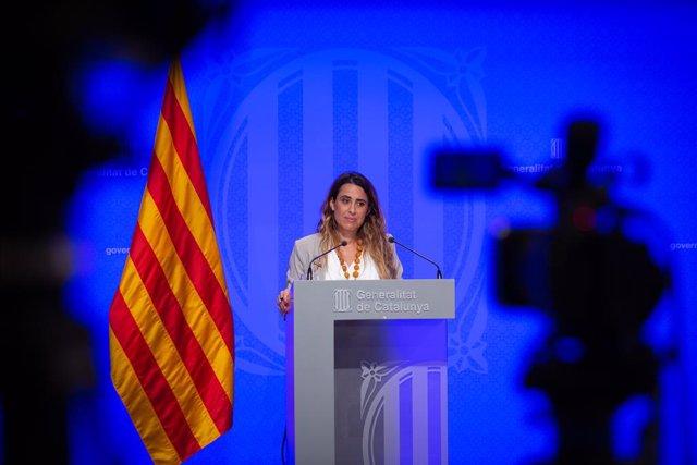 La portaveu del Govern, Patrícia Plaja, intervé en la conferència de premsa posterior al Consell Executiu.