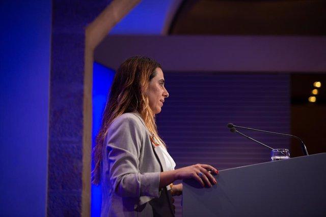 La portaveu del Govern, Patrícia Plaja, intervé en la roda de premsa posterior al Consell Executiu.