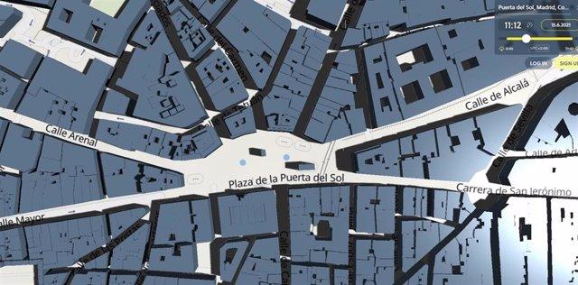 La Puerrta del Sol de Madrid, en Shadowmap.