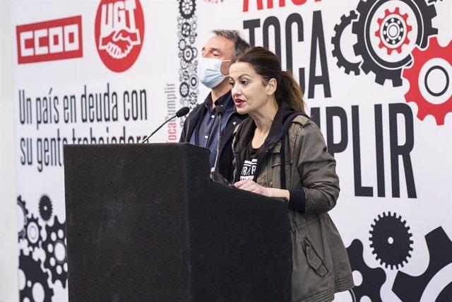 Archivo - La eurodiputada de Unidas Podemos y portavoz de IU, Sira Rego interviene durante una rueda de prensa en el Círculo de Bellas Artes, a 1 de mayo de 2021, en Madrid, (España).