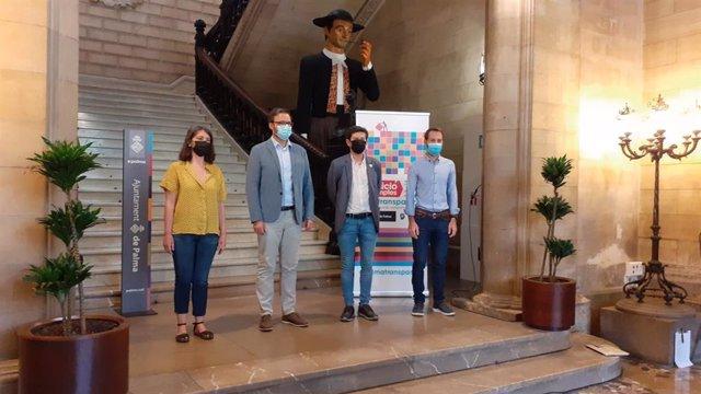 El alcalde de Palma, José Hila, con los portavoces MÉS, Unidas Podemos y PSIB en Cort.