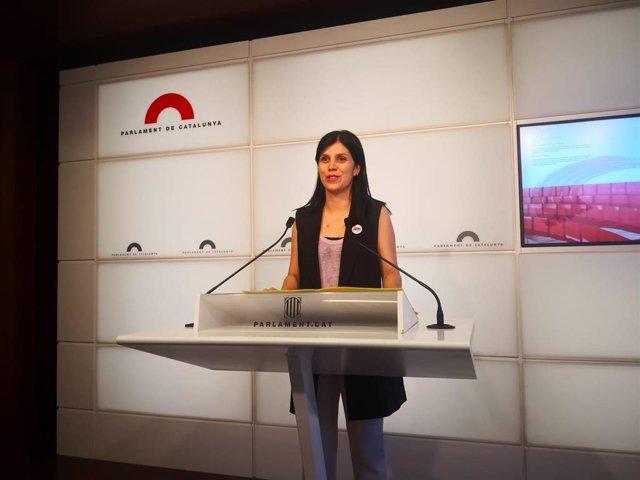 Marta Vilalta (ERC) en rueda de prensa en el Parlament.