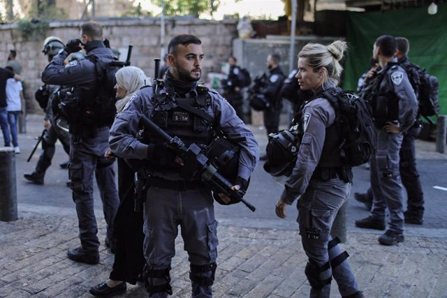 Fuerzas de seguridad israelíes en la Marcha de las Banderas