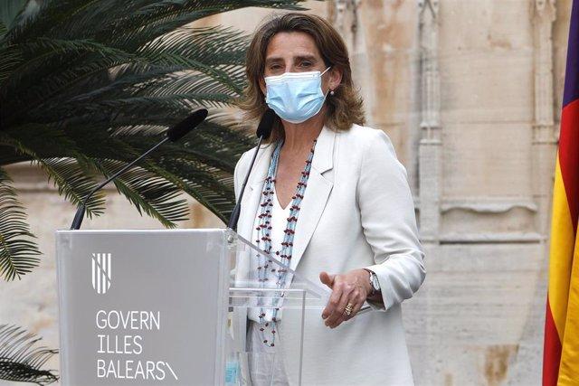 La ministra para la Transición Ecológica y Reto Demográfico, Teresa Ribera, en rueda de prensa tras mantener una reunión con la presidenta de Islas Baleares, a 2 de junio de 2021, en Palma de Mallorca, Islas Baleares, (España).