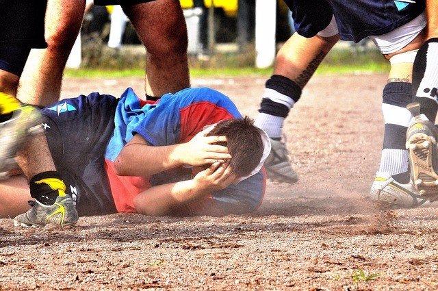 Archivo - Rugby, Golpe en la cabeza.
