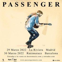 Cartel de la gira del cantautor británico Passenger