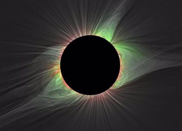 Los filtros especiales permiten a los científicos medir diferentes temperaturas en la corona durante los eclipses solares totales, como este visto en Mitchell, Oregon, el 21 de agosto de 2017.