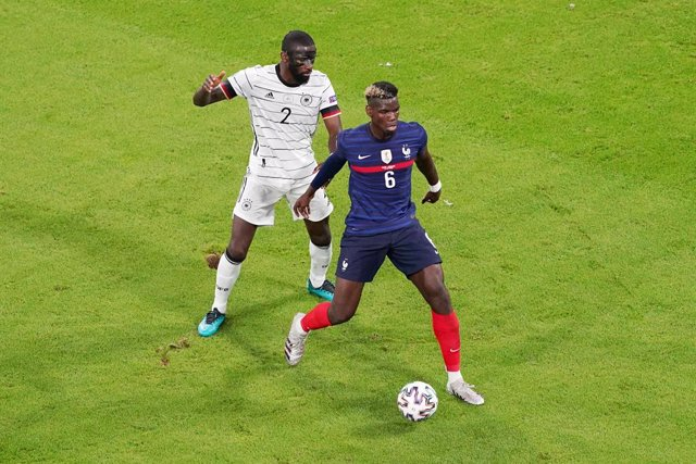 Antonio Rudiger of Germany, Paul Pogba of France during the UEFA Euro 2020, Group F football match between France and Germany on June 15, 2021 at Allianz Arena in Munich, Germany - Photo Andre Weening / Orange Pictures / DPPI