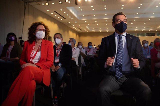 El presidente de la Junta, Juanma Moreno,  la secretaria general de CCOO-A, Nuria López, en  la inauguración del XIII congreso regional del sindicato CCOO, 16 de junio 2021 en Sevilla, Andalucía, España