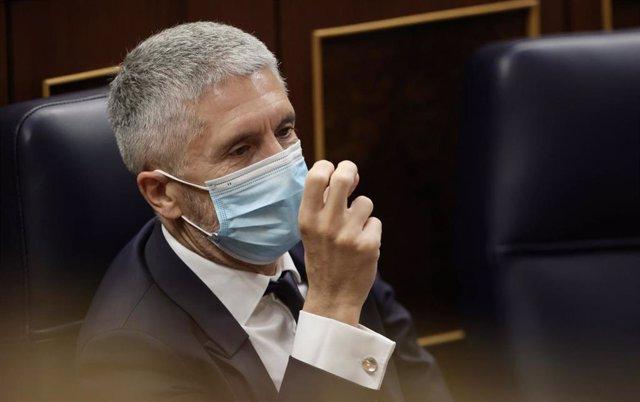 El ministro de Interior, Fernando Grande-Marlaska, en una sesión de control al Gobierno.