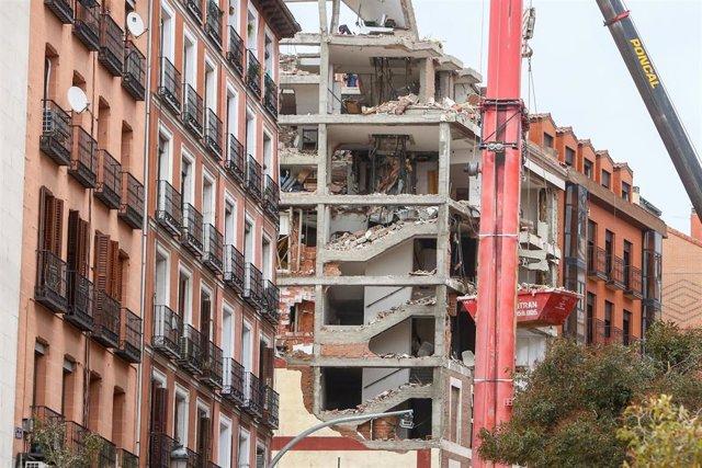 Archivo - Plantas del edificio que el pasado miércoles sufrió una explosión, en la calle Toledo, Madrid, (España), a 23 de enero de 2021.