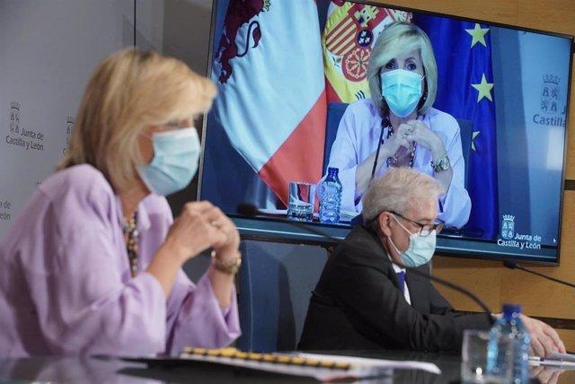 Rueda de prensa de la consejera de Sanidad, junto a Alfonso Montero.