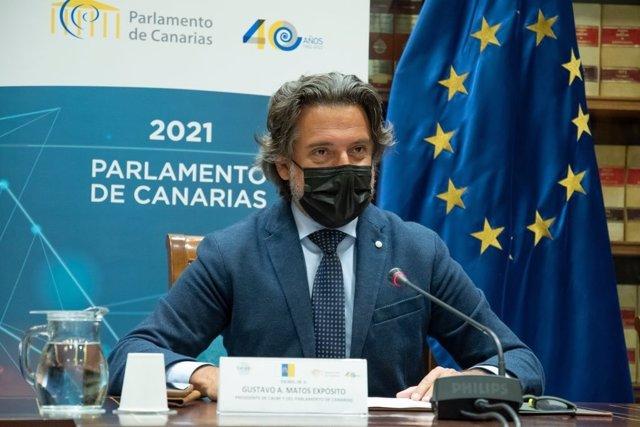 El presidente del Parlamento de Canarias, Gustavo Matos, en la apertura de la  XL Sesión del Consejo de Autoridades Locales y Regionales del Consejo de Europa