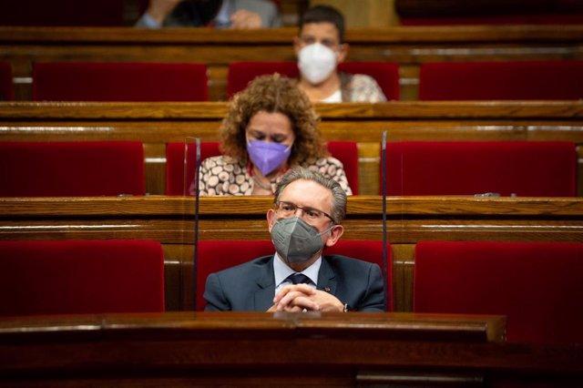 El conseller de Economía, Jaume Giró, en la primera sesión de control del nuevo Ejecutivo, a 2 de junio de 2021, en el Parlament de Catalunya, Barcelona, (España). Durante esta sesión, marcada por la presentación de los miembros de su nuevo Govern, han de