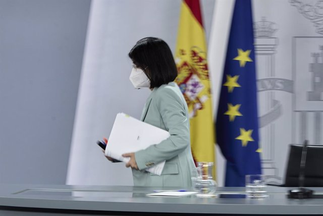 La ministra de Sanitat, Carolina Darias, durant la roda de premsa posterior al Consell Interterritorial de Salut, a 9 de juny de 2021, a Madrid (Espanya).