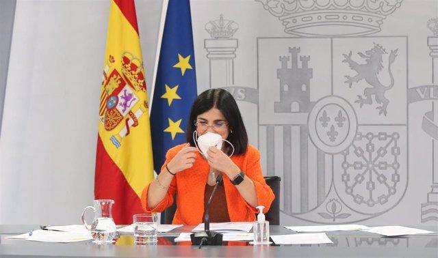 La ministra de Sanidad, Carolina Darias, durante la rueda de prensa posterior al Consejo Interterritorial de Salud, a 16 de junio de 2021, en Madrid (España). Por primera vez en diez meses la incidencia acumulada de coronavirus baja en España de los 100 c