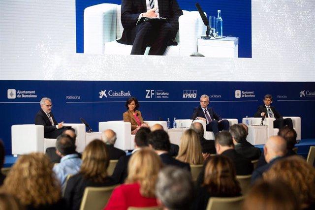 Marc Puig (Cercle d'Economia, José M. Álvarez-Pallete (Telefónica), Ana Botín (Banco Santander) y Pablo Isla (Inditex) en la Reunión del Círculo de Economía