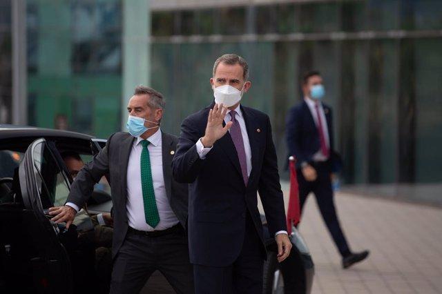 El Rei Felipe VI, a la seva arribada al W Barcelona per assistir a un sopar inaugural de la XXXVI reunió anual del Cercle D'Economia, al costat del president de Corea del Sud, Moon Jae-In, a 16 de juny de 2021, a Barcelona, Catalunya (Espanya).
