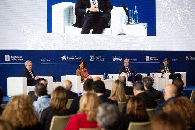 Marc Puig (Cercle d'Economia, José M. Álvarez-Pallete (Telefónica), Ana Botí (Banc Santander) i Pablo Illa (Inditex) en la Reunió del Cercle d'Economia