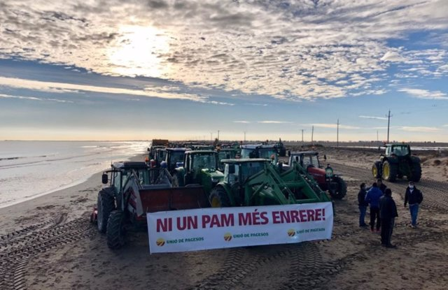Movilización de Unió de Pagesos en diciembre de 2020