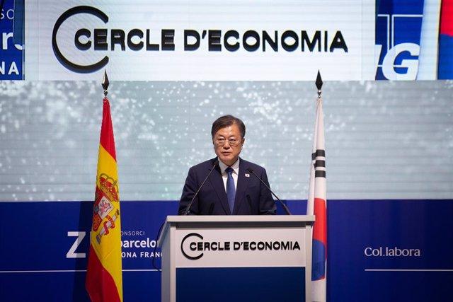 El president de la República de Corea del Sud, Moon Jae In, aquest dimecres en el sopar inaugural de la XXXVI Reunió Anual del Cercle d'Economia