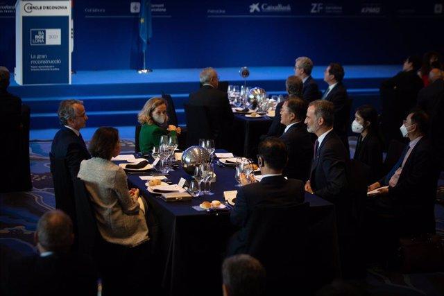 Imatge del sopar inaugural de la XXXVI Reunió Anual del Cercle d'Economia, a la qual ha assistit el Rei Felipe VI