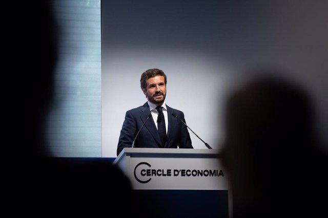 El presidente del PP, Pablo Casado, interviene en la Reunión Anual del Cercle d'Economia en Barcelona.