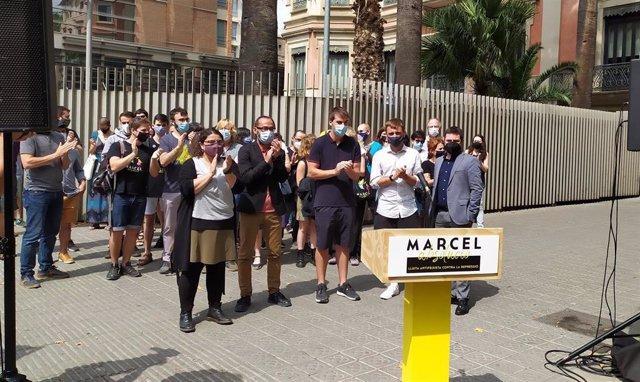 Rueda de prensa de Alerta Solidària y el grupo de apoyo a Marcel Vivet, el 17 de junio de 2021.