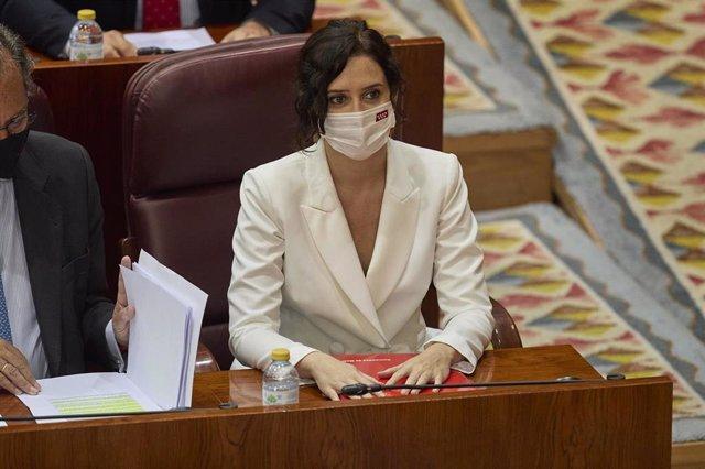La presidenta en funciones de la Comunidad de Madrid, Isabel Díaz Ayuso