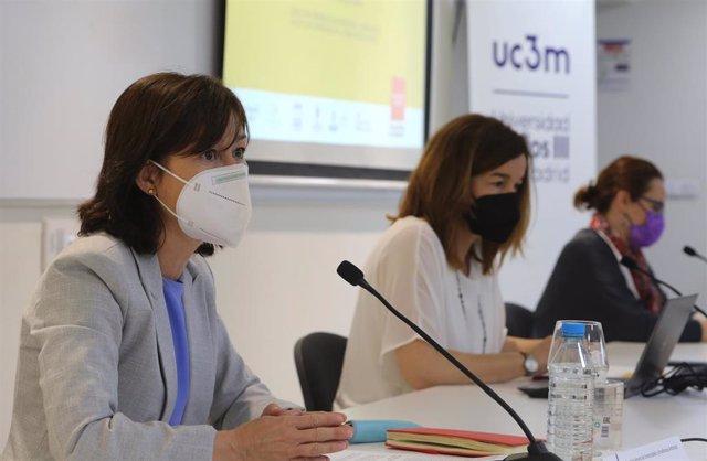 La directora general de Universidades y Enseñanzas Artísticas, Irene Delgado Sotillos, durante una rueda de prensa de presentación de los resultados de la Evaluación del Bachillerato para el Acceso a la Universidad (EBAU) de 2021 en la Comunidad de Madrid