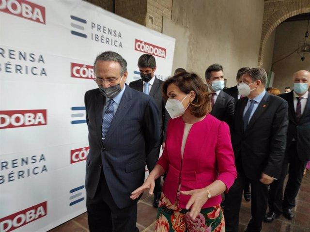 La vicepresidenta primera del Gobierno, Carmen Calvo, en la gala de entrega de los Premios Cordobeses del Año 2020, que entrega 'Diario Córdoba'.